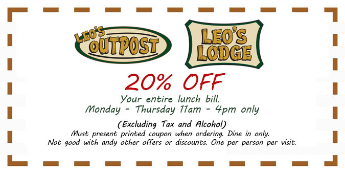 20% Off Lunch Coupon